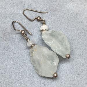 Jewelry - Rough Raw Quartz Stone Dangle & Drop Earrings